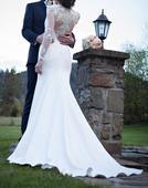 Neobyčajné svadobné šaty s vlečkou 38, 36