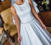 Elegantne svadobné šaty+vlečka c.36-38,zavoj, 36