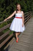 Krátké svatební retro šaty s puntíky , 36