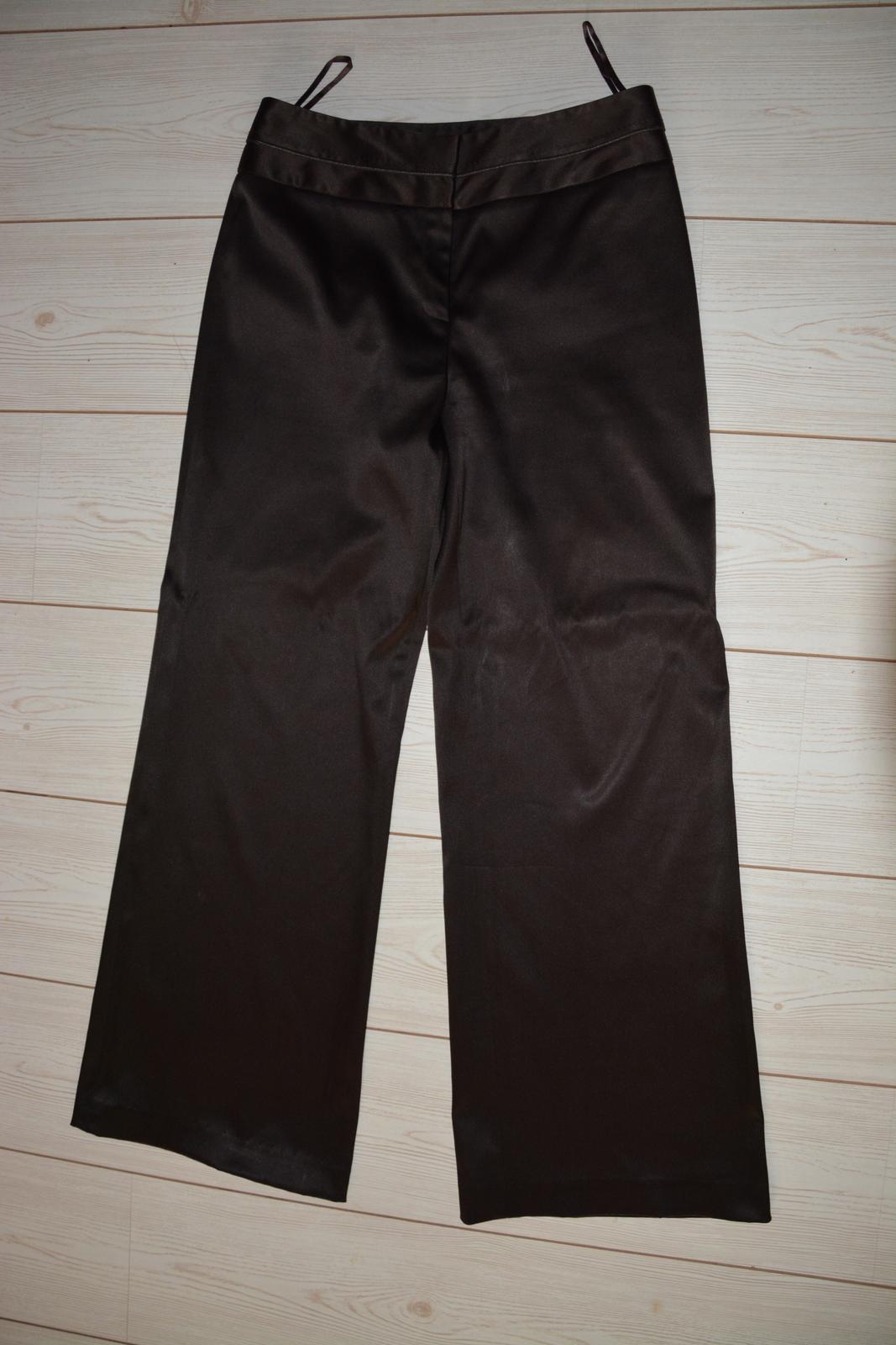 Tmavě hnědé lesklé kalhoty NEXT - Obrázek č. 1