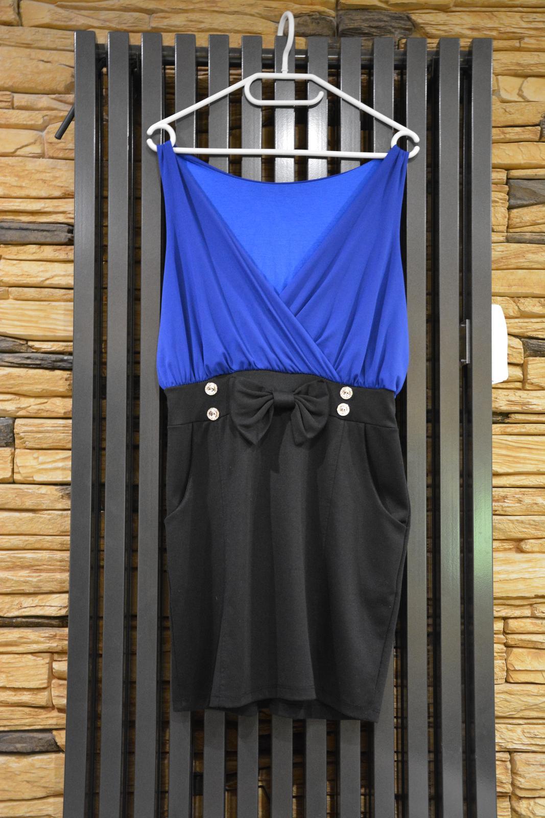 Modro-černé společenské šaty s mašlí - Obrázek č. 1