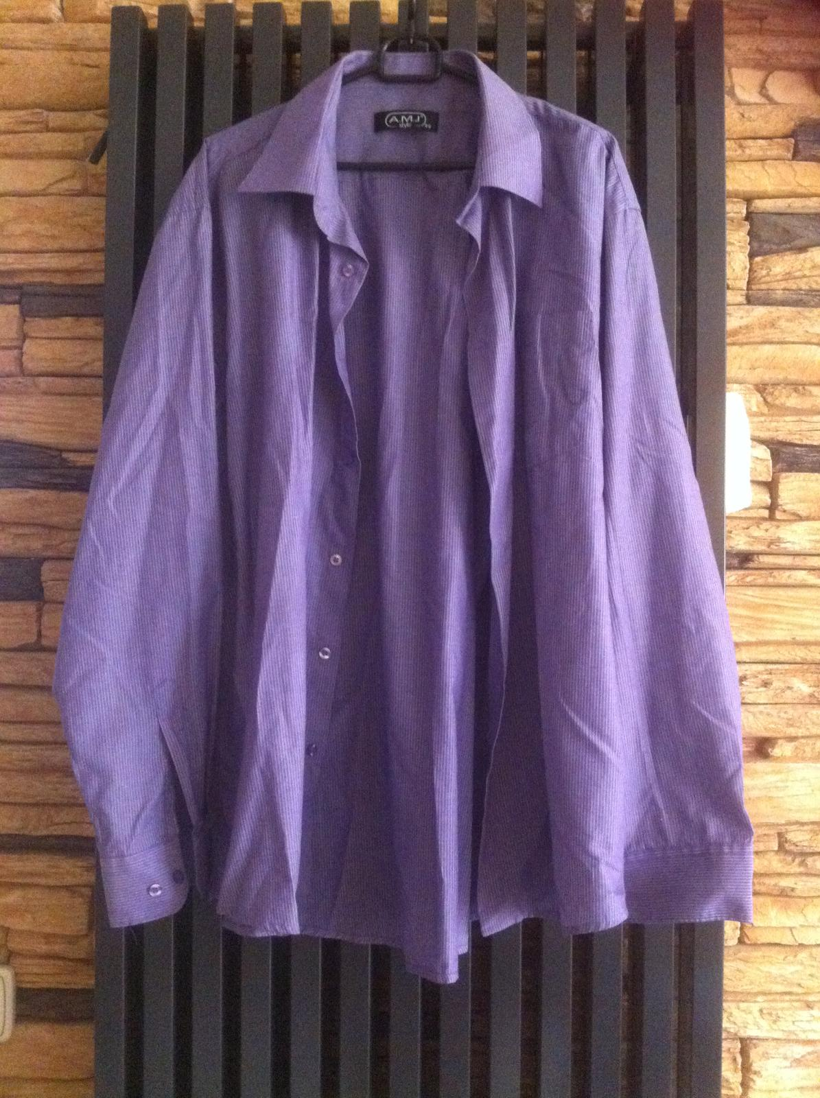 Fialová košile s proužkem A.M.J. style - Obrázek č. 1