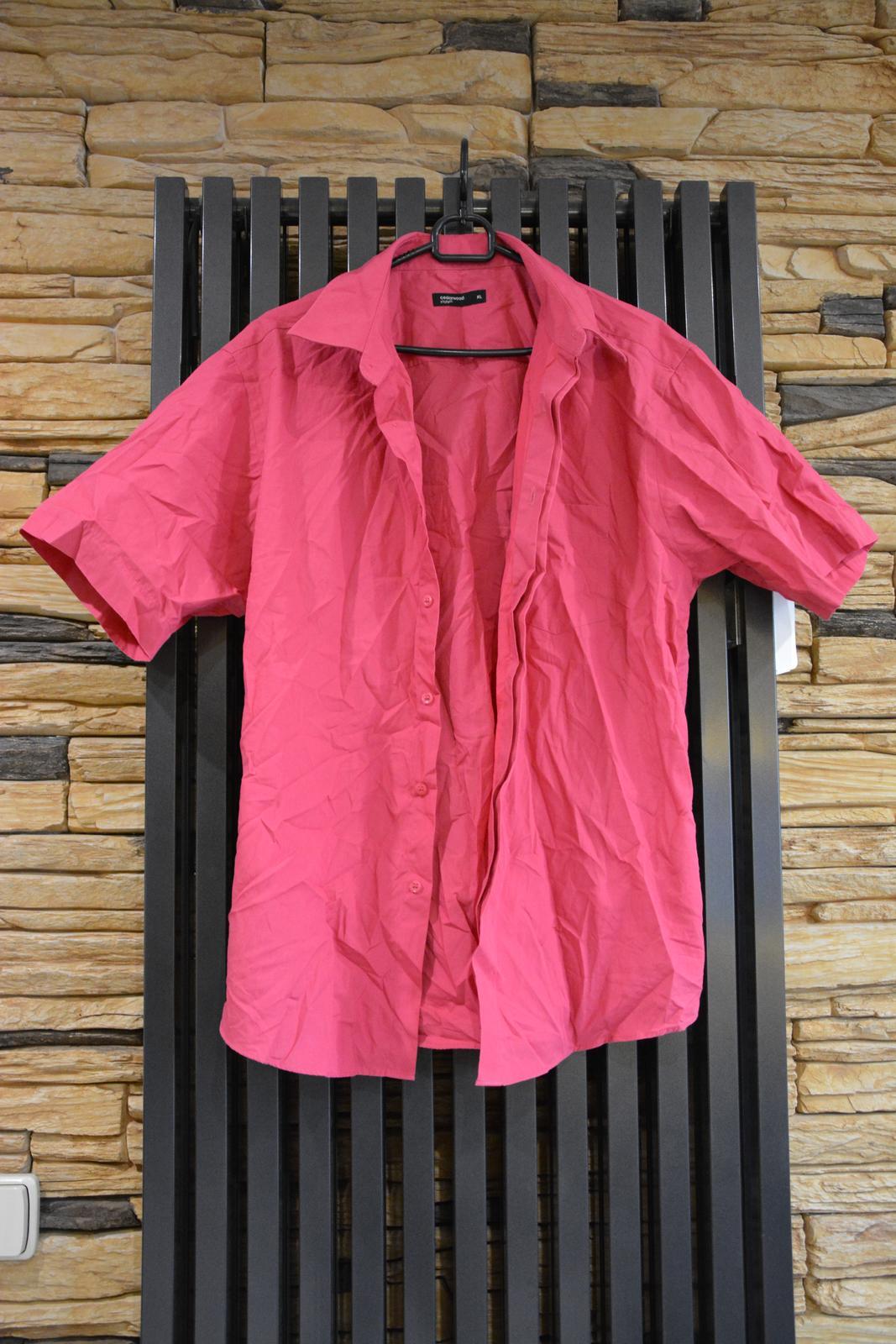 Fuchsiová košile s krátkým rukávem - Obrázek č. 1