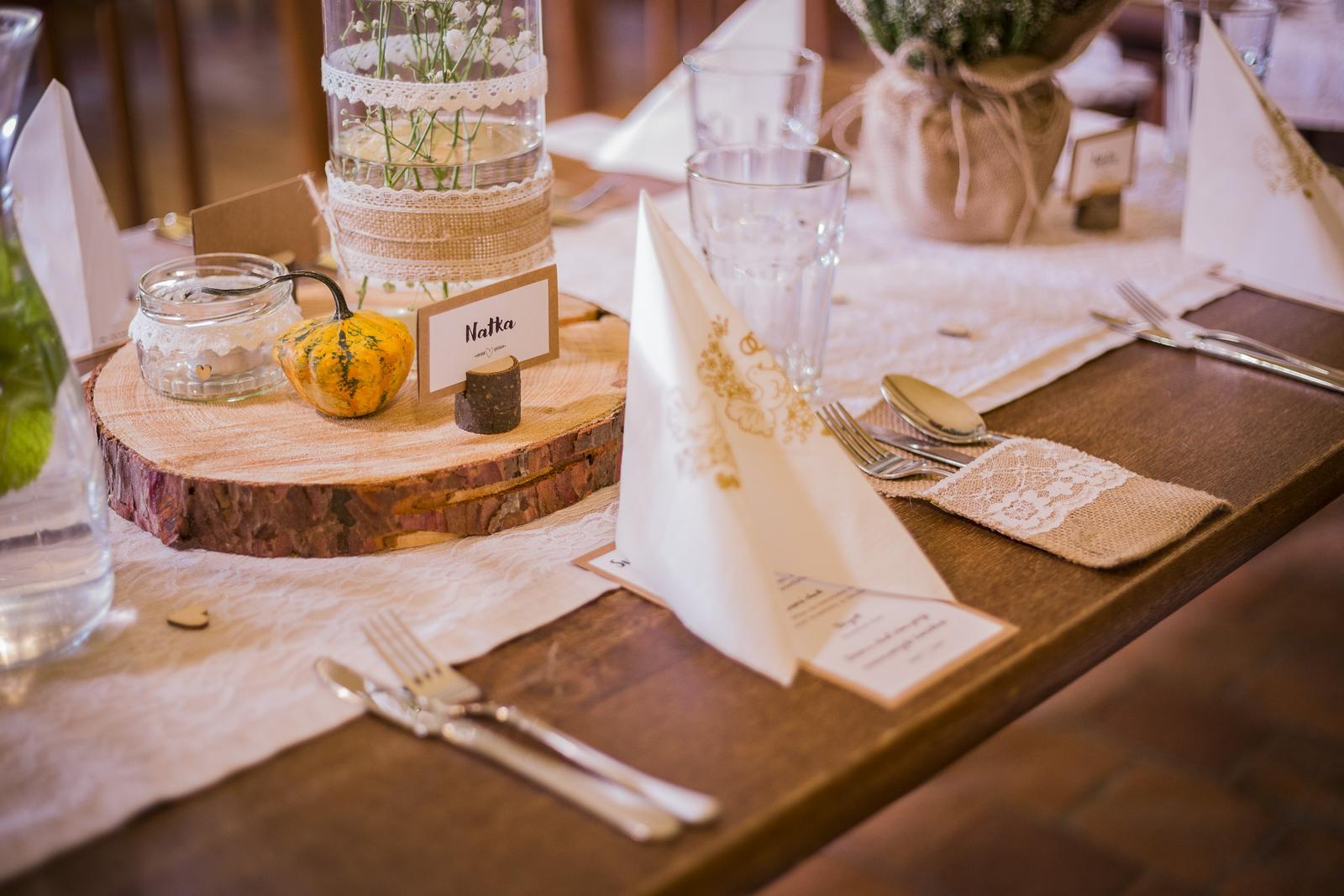 Svatební přírodní dekorace na stůl - Obrázek č. 1