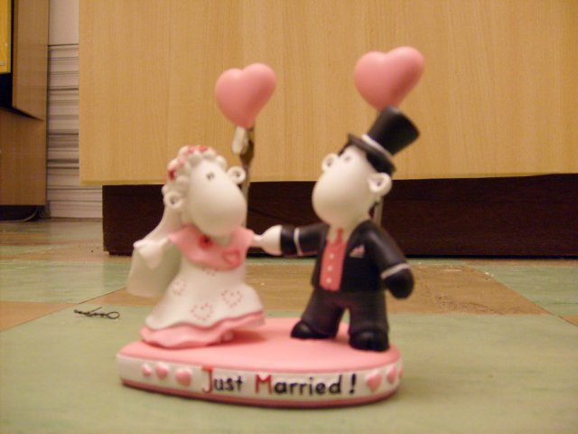Slniečkova svadba na ranči - náš cake topper-párik na tortu a do štipcov naše fotky :-)