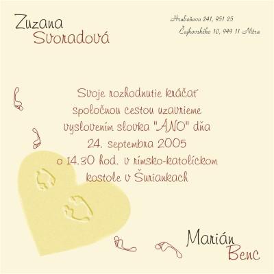 Zuzana{{_AND_}}Marián - nase oznamenie - samovyroba