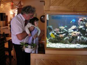 otec a neteř nevěsty u mořského akvárka v restauraci