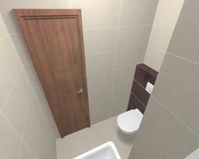 barva veškrého dřeva v koupelně i WC bude jiná, bude to ořech - trochu světlejší, trochu víc do šeda