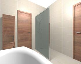 chceme sprchový kout s jedn jednou zástěnou, takový nějaký nenápadný, nevím, kam ale správně patří ta baterie, aby to moc nestříkalo