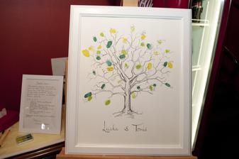 Svatební strom, který mi kreslila kamarádka (Jana - díky moc) je nádhernej a už nám visí nad sedačkou a denně na něj koukám:)