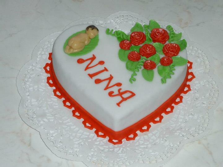 Moje výtvory - srdce pro novorozenou Ninušku