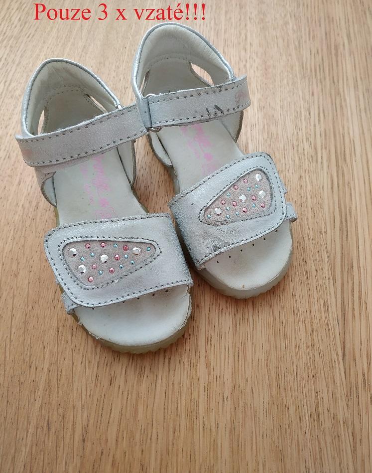 Celokožené stříbrné sandálky Primigi - Obrázek č. 1