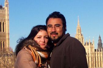 My dva na nasi zasnubni ceste v Londyne. Leden 2008