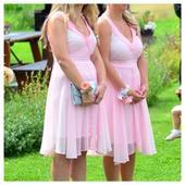 Ruzovo bílé šaty s přechodem barev , 38