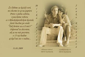 Tak toto je naše svadobné oznámenie. Môj výtvor :)
