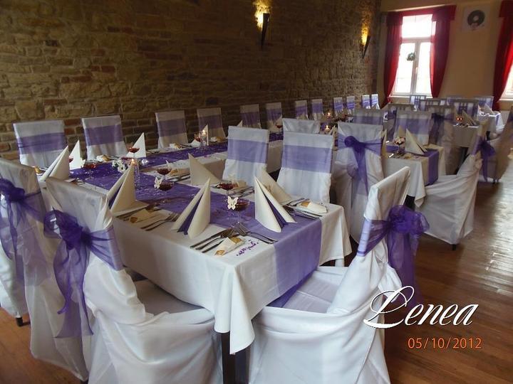 Svatební potahy na židle-zapůjčení,prodej i šití na míru - Potahy a ubrusy k zapůjčení i k prodeji- výrobce Lenea