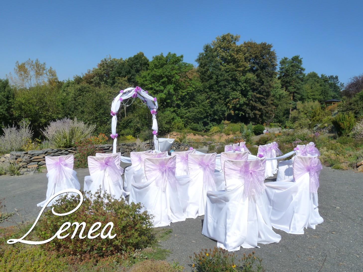 Svatební potahy na židle-zapůjčení,prodej i šití na míru - Univerzální ptahy s organzovou mašlí v lila barvě -k zapůjčení na Lenea.cz