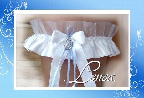 Podvazek pro nevěstu-srdce na bílé mašličce  - Obrázek č. 1