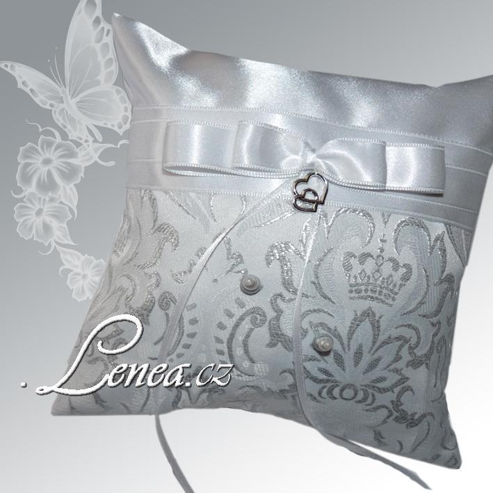 Svatební polštářek na prstýnky-Elegant silver - Obrázek č. 1