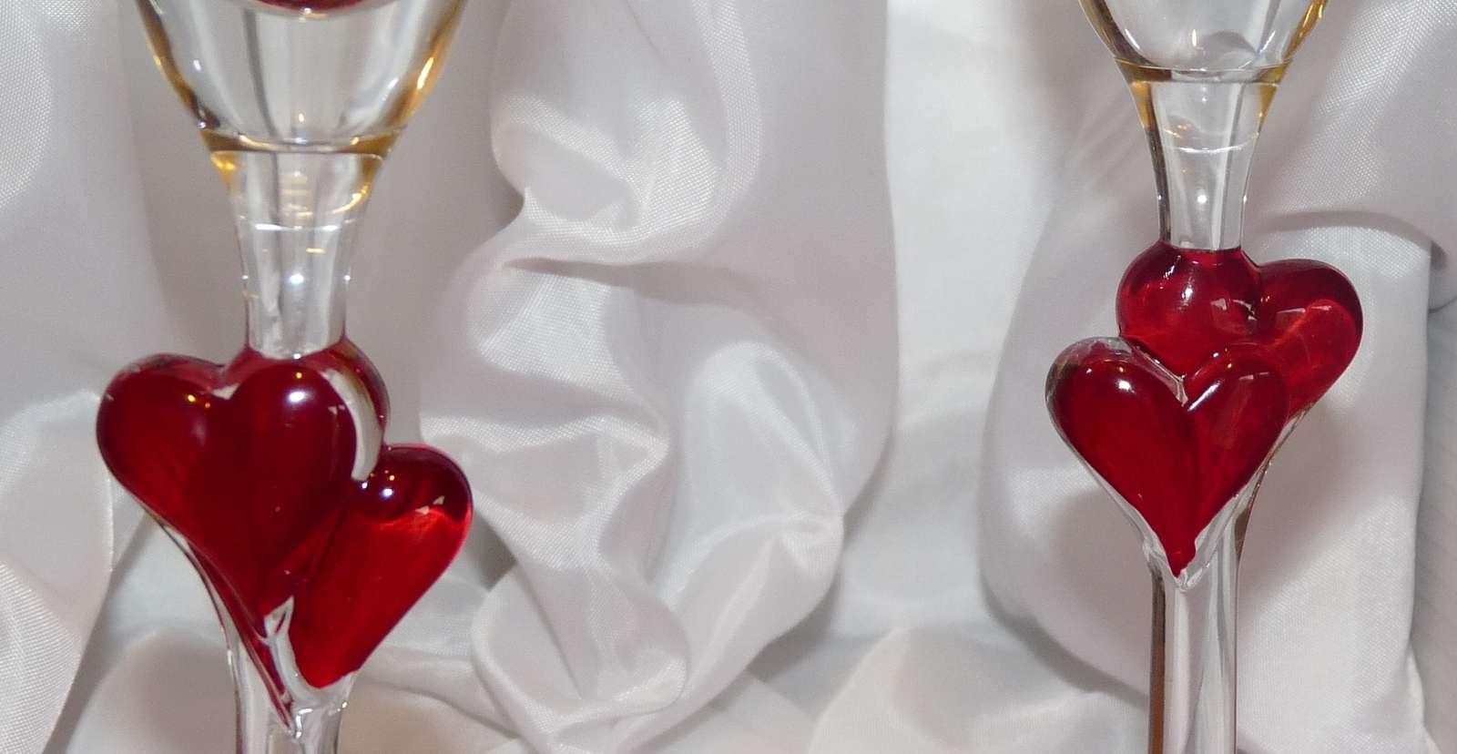 Sklenice Amorek-sada s červenými srdíčky  - Obrázek č. 2