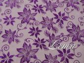 Organza s květy-tmavě fialová,
