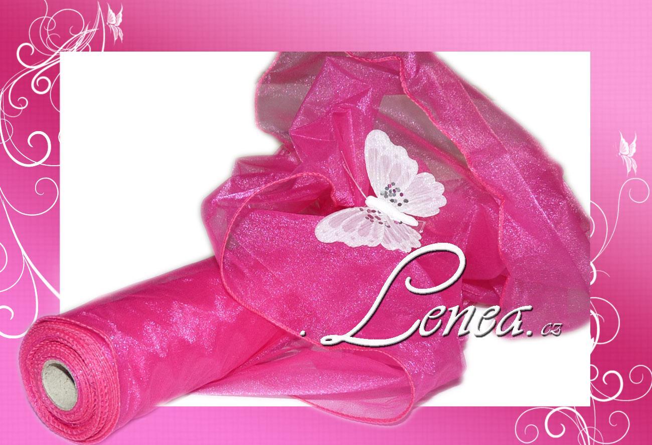 Organza luxusní s tvarovacím drátkem-tmavě růžová - Obrázek č. 1