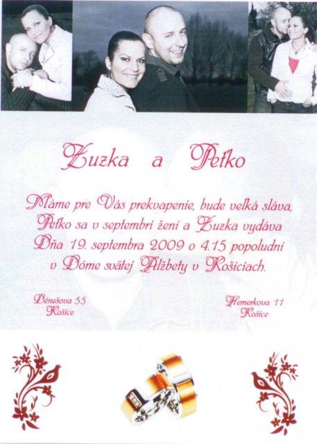 19.09.2009 sa blíži...Zuzka a Peťko - Oznamko