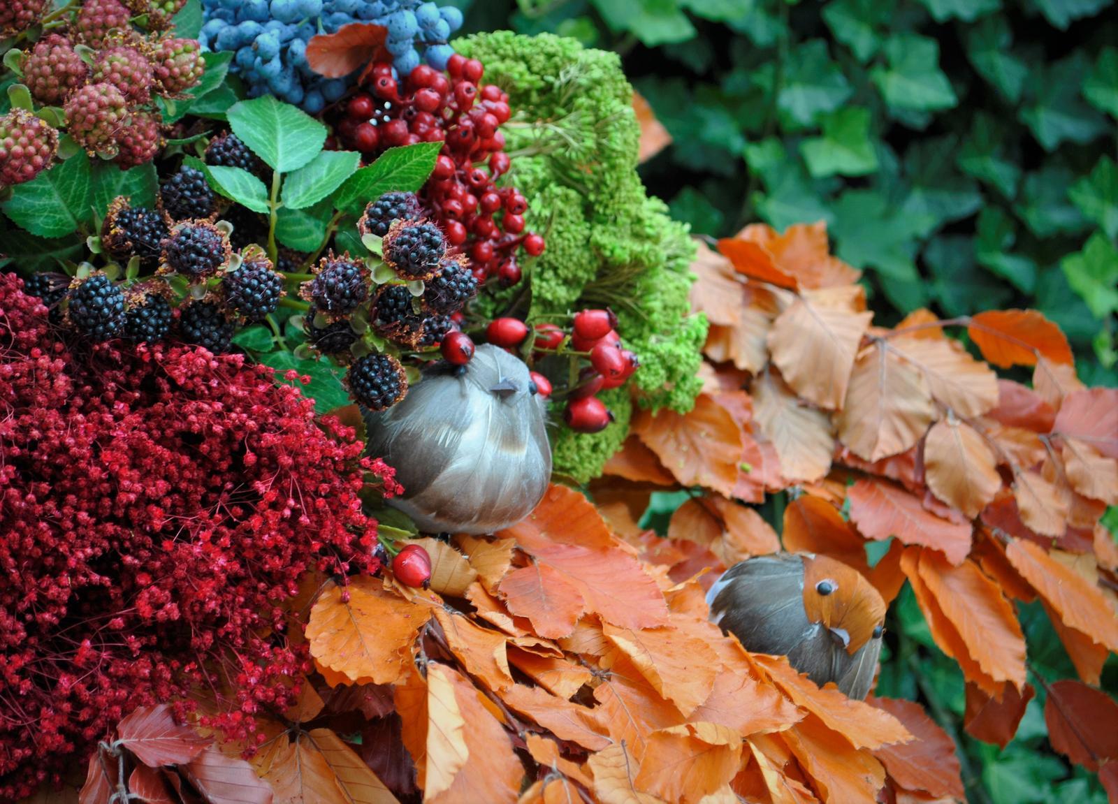 NOVÉ  stabilizované bukové konáre s listami v jesenných farbách , vtáčiky z pierok , černice , šípky a ďalšie jesenné dekorácie nájdete v našej ponuke e-shopu - Obrázok č. 5