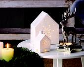 Dekoratívny keramický svietnik domček vločka,