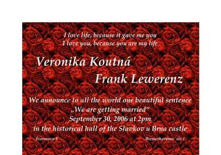 Svatební oznámko v angličtině