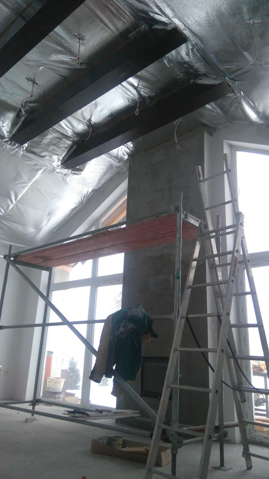 Bungalov 1375 svojpomocne - predpriprava pred napinanym stropom...