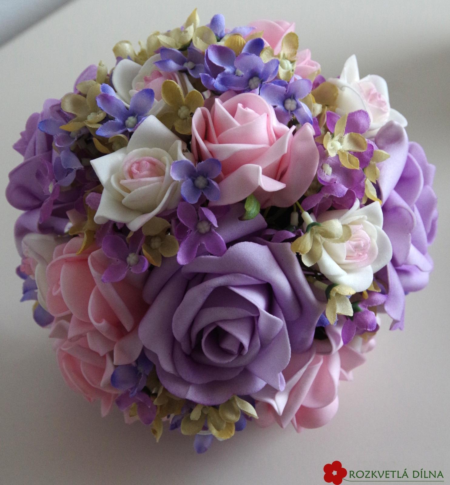 Fialovo-růžová kytice umělá - Obrázek č. 1