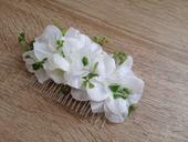 Bílý hřebínek do vlasů - luční květy,