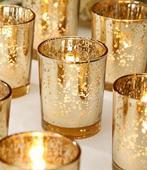Zlaté svícny na čajové svíčky zn. Duni - 8 ks,