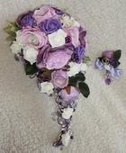 Fialová svatební kytice + květina pro ženicha ,