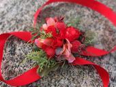 květy a rudé bobule,