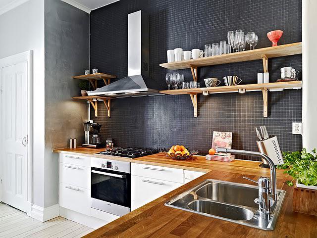 Kuchyně a jídelna - inspirace - černá a bílá, elegantní