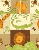 Detská bavlnená látka Safari - béžová,
