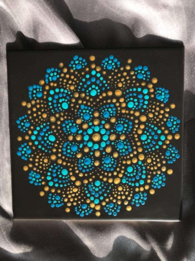 Ručně malovaná kachlička s motivem mandaly - Obrázek č. 1
