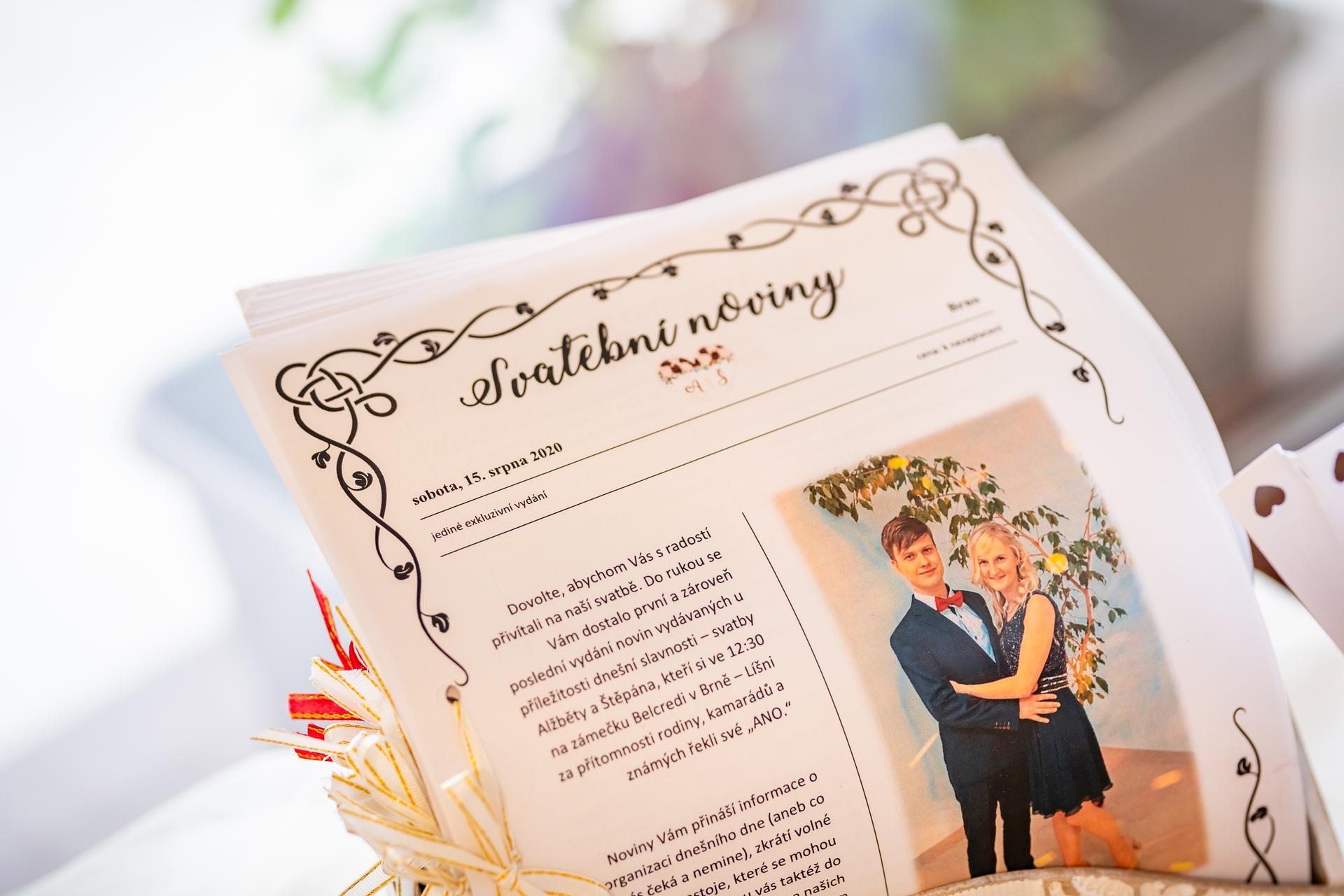 Alžběta                    a                    Štěpán - Svatební noviny na 8 stránek