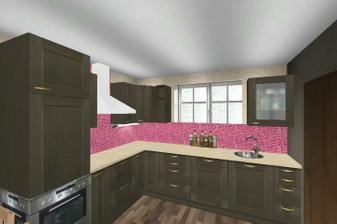 ...ale furt se mi líbí ta ikeácká tmavě hnědá kuchyně. akorát se bojím aby to s tmavou podlahou nebylo moc tmavé...