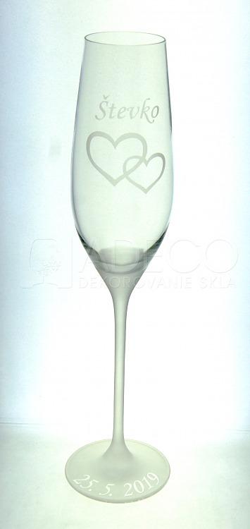 Svadobné poháre so srdiečkami, menami, dátumom - Obrázok č. 2