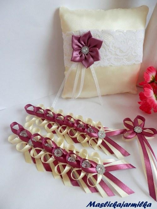 Svatební vývazky, podvazky, polštářky pod prstýnky, náramky.. - Obrázek č. 15