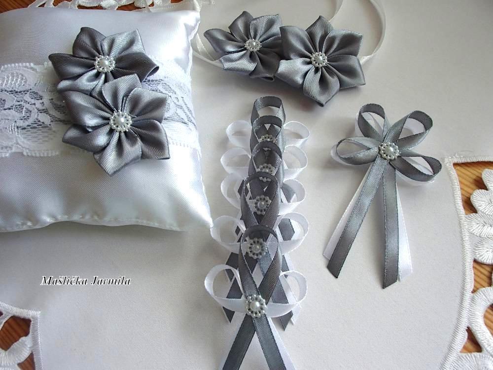 Svatební vývazky, podvazky, polštářky pod prstýnky, náramky.. - Obrázek č. 61