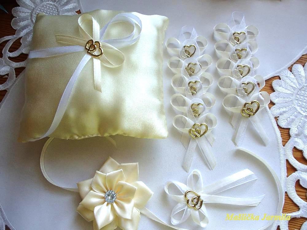 Svatební vývazky, podvazky, polštářky pod prstýnky, náramky.. - Obrázek č. 89