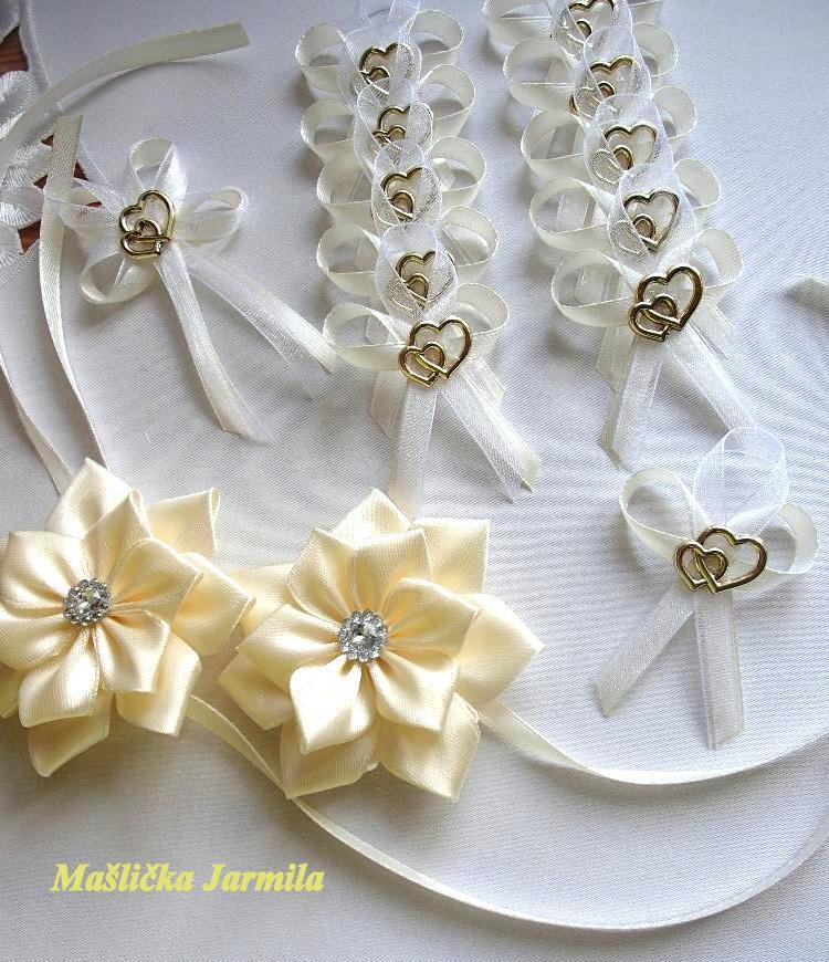 Svatební vývazky, podvazky, polštářky pod prstýnky, náramky.. - Obrázek č. 65