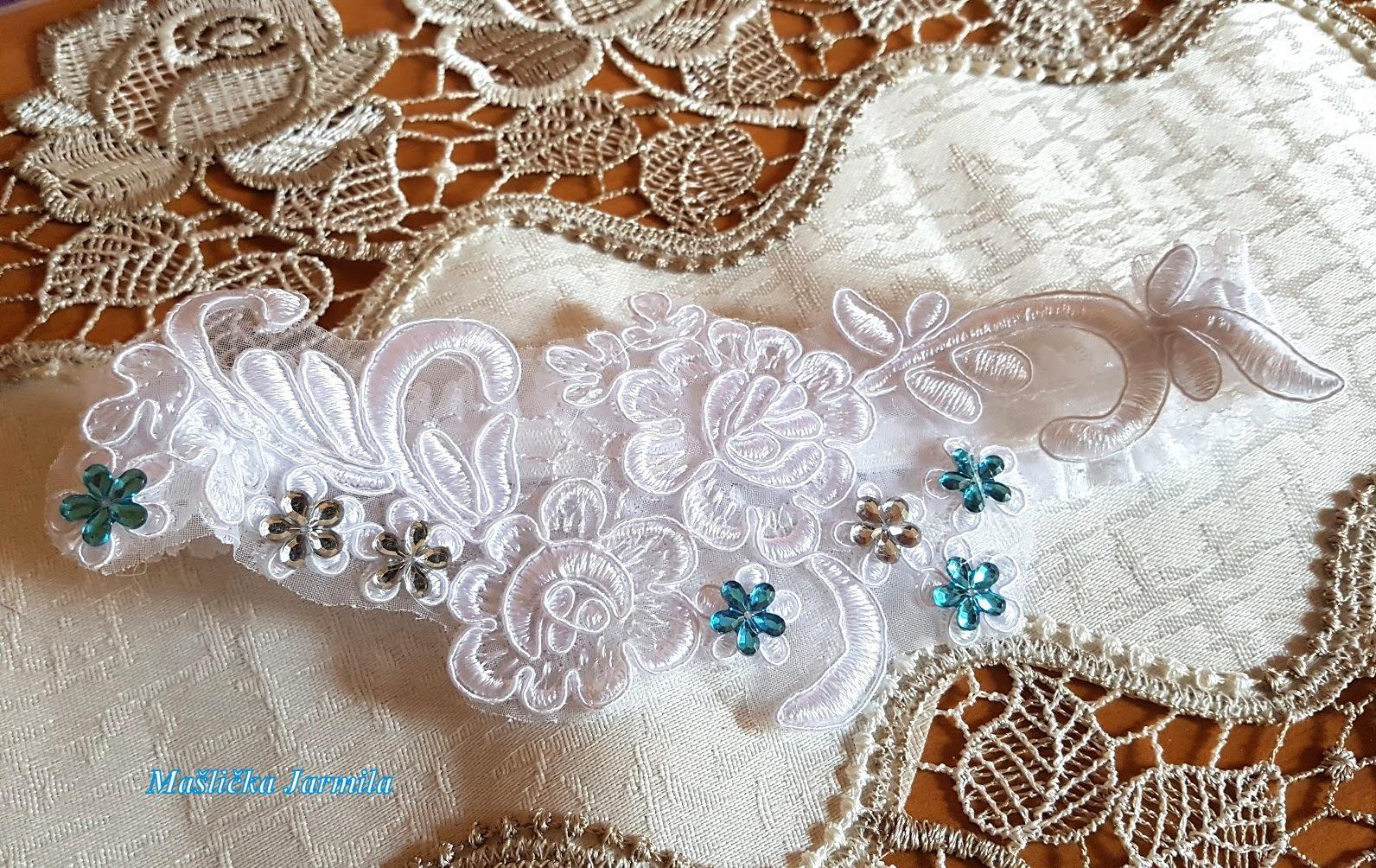 Svatební vývazky, podvazky, polštářky pod prstýnky, náramky.. - Obrázek č. 95