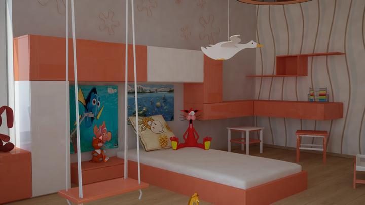 dv3d - dětský pokojík , oranžová lesk ,bílá lesk ,podlaha laminátová imitace DUB světlý
