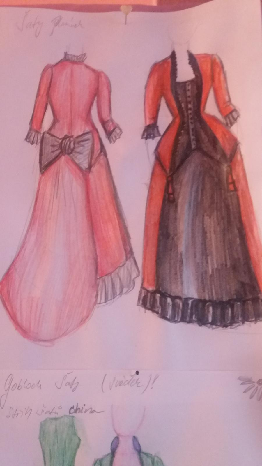 Naše dobová viktoriánská  svatba - Návrh šatů pro hlavní družičku.