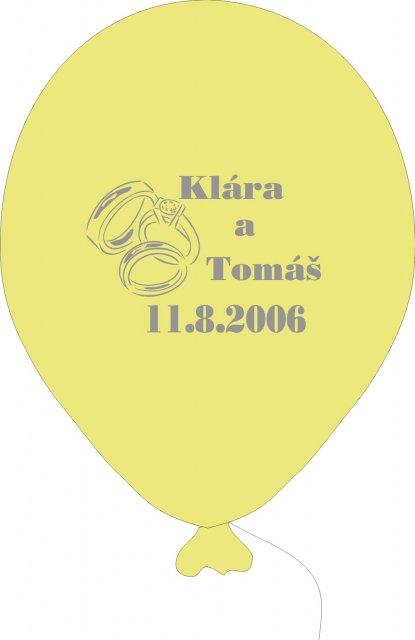 Klára a Tomáš 11.8.2006 - už nám dorazily balonky na výzdobu a jako dárečky, toto je jen návrh ve skutečnosti jsou úžasné oranžové a žluté